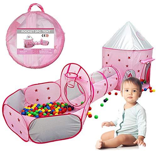 Lvhan Kinderspielzelt Spielhaus - 3-Teiliges Krabbel Kinder Spielzelt Tunnel Spielplatz mit Aufbewahrungstaschen