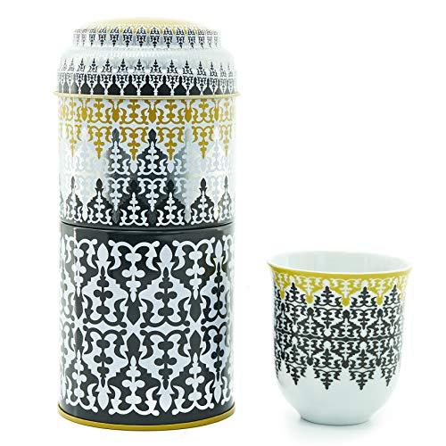 IMAGES D'ORIENT Geschenkset 2 in 1 Metalldosen mit 2 x 90ml Porcalain Espressotassen Espressobecher Moccatassen orientalisch Gemustert Safra