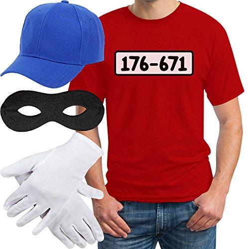 Panzerknacker Banditen Bande Herren Kostüm Shirt + MÜTZE + Maske + Handschuhe T-Shirt M Rot
