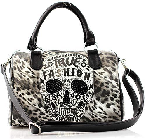 Damen Handtasche Totenkopf Leopard Skull Bone Bowling Bag Gothic Punk Tiger Leo Print Damentasche (Leopard Muster Grau)