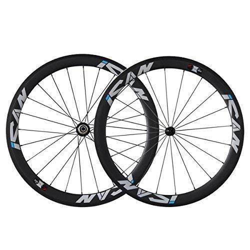 ICANIAN 700C Carbon Laufradsatz Rennrad 50mm Clincher Shimano 10/11 Speed 1510g (Classic Laufradsatz)