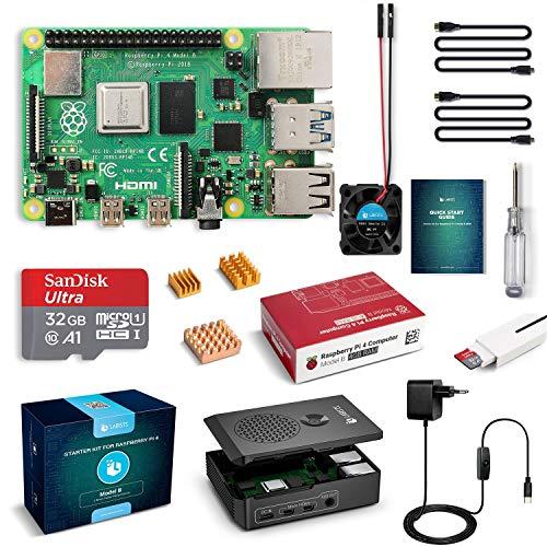 LABISTS Raspberry Pi 4 Model B 4 GB Ultimatives Kit mit 32GB Class10 Micro SD-Karte, 5,1V 3,0A USB-C EIN/Aus-Schaltnetzteil, 3 Premium Kupfer Kühlkörper, Micro HDMI-Kabel, Premium Schwarzes Gehäuse