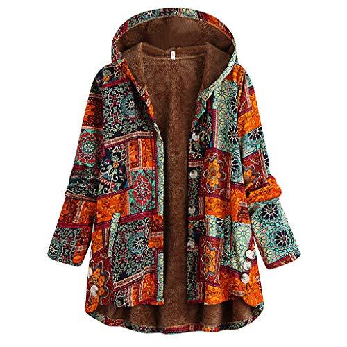 TOPKEAL Damen Herbst Winter Drucken Mantel Jacke Langarm Baggy Strickjacke Warm Knopf Kapuzenpullover Hoodie Pullover Outwear (Orange, XXL)