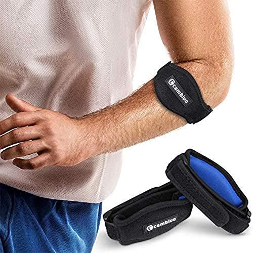 CAMBIVO 2 x Ellenbogen Bandage Damen und Herren, Sportbandage, elastische Tennisarm und Golferarm Manschette mit Kompressionspolster für Sport, Fitness, Tennis (Schwarz)