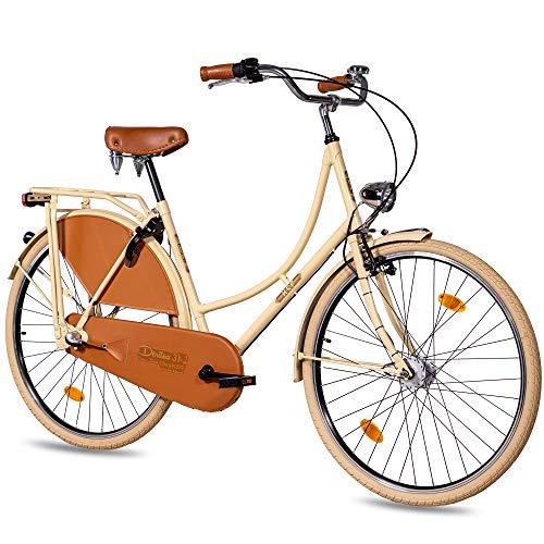 KCP 28 Zoll Citybike Damen Hollandrad - Deritus N3 Creme - Damen-City-Fahrrad mit Shimano Nexus 3 Gang Nabenschaltung und Shimano Nabendynamo, Vintage Damenfahrrad mit Rücktrittbremse