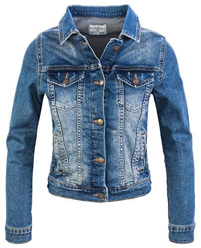 Rock Creek Damen Jeans Jacke Übergangs Jacke Denim Blouson Stretch Kurz Classic Jeansjacken Urban Stonewash D-401 Blau M
