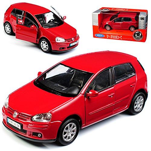 Welly Volkwagen Golf V Rot 5 Türer 2003-2008 ca 1/43 1/36-1/46 Modell Auto mit individiuellem Wunschkennzeichen