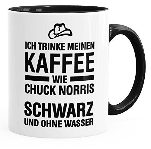 MoonWorks Ich trinke Meinen Kaffee wie Chuck Norris - schwarz und ohne Wasser Tasse schwarz Unisize
