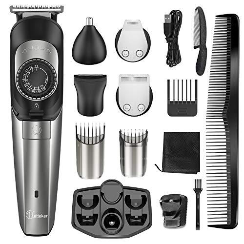 Hatteker Bartschneider & Haarschneidemaschine Herren Haarschneider Haartrimmer Bart Trimmer Nasentrimmer Bodygroomer 5 in 1 USB aufladbar