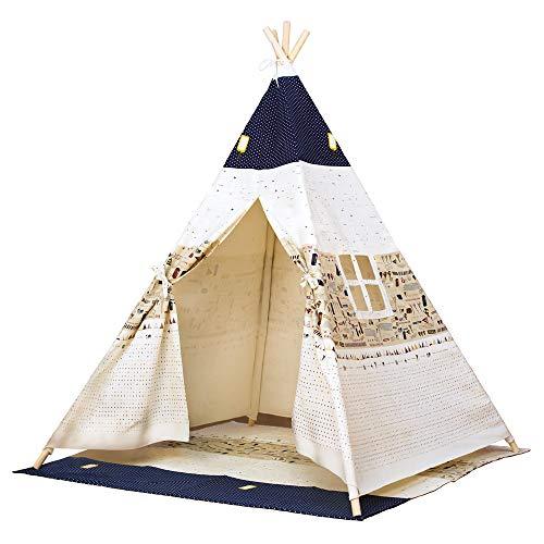 Bino Spielzelt TeePee, Zelt Kinderzimmer (Kinder Tipi Zelt, Spielhaus für Kinder ab 3 Jahre, Drinnen & Draußen geeignet, bedruckt mit Indianer Motiven, Größe 120x120x150 cm), blau-beige