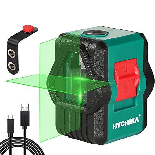 Kreuzlinienlaser 30M, HYCHIKA Selbstnivellierend grüner Linienlaser mit Dualem Lasermodul 360°Umschaltbar Horizontal/Vertikal mit Magnet Halterung, USB Aufladung