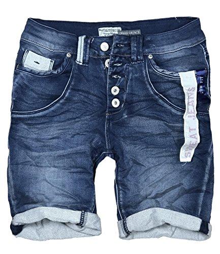 Eight2Nine Damen Bermuda Short Boyfriend tiefer Schritt Turn Up mit Quernaht by Surface Washed (M, Dark Blue)