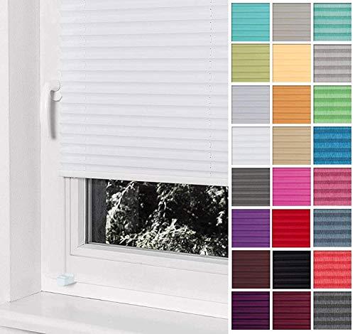 Home-Vision® Premium Plissee Faltrollo ohne Bohren mit Klemmträger / -fix (Weiß, B85cm x H120cm) Blickdicht Sonnenschutz Jalousie für Fenster & Tür