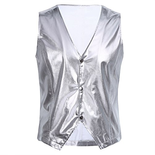 YiZYiF Trend Metallic Schlanke V-Ausschnitt Herren T-Shirts DJ Club Weste Top Nightclub Disco Kostüm Silber X-Large