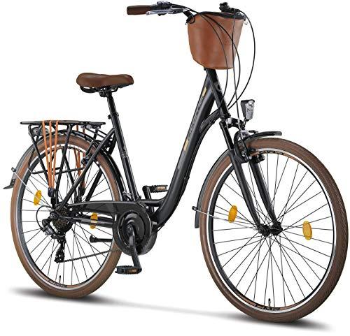 Licorne Bike Violetta (Schwarz) 28 Zoll Damenfahrrad,CTB ab 160 cm, Fahrrad-Licht, Shimano 21 Gang-Schaltung, Damen-Citybike, Retro, Holland, Amsterdam, Korb, Gabelfederung