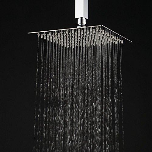 Hiendure®10 x 10 Zoll Quadratische Luxus Regendusche Einbauduschköpfe Edelstahl 1/2 Zoll Duschkopf aus Edelstahl Spiegeleffekt Hochglänzend