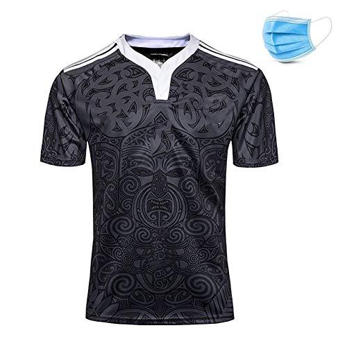 Sportmannschaft Neuseeland, Maori Rugby-Training Strikot, New Fabric Embroidered, Black Rugby Sportswear, Festival Geschenk-A-L