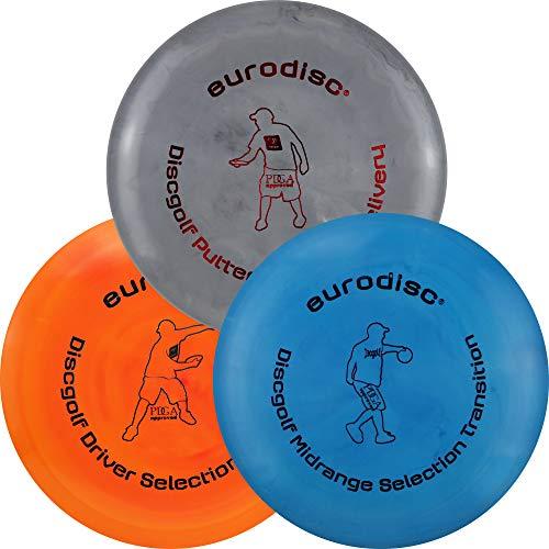 Eurodisc Disc Golf Frisbee Einsteiger Starter Set besonders hochwertig haltbar Selection Putter Midrange Driver (GrauBlauOrange)