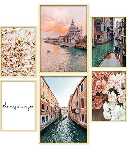 ARTORIA   Premium Poster Set - Beige Rose   Ohne Rahmen   Moderne Bilder für Wohnung 4xA4 & 2xA3: Wohnzimmer & Schlafzimmer & Büro   Home Deko für Wände   Schöne Geschenke mit elegantem Design