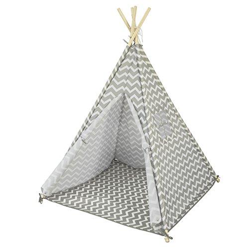 SoBuy OSS03 Tipizelt Spielzelt Zelt für Kinder mit 1 Tür und 1 Fenster Spielhaus Kinderzelt Indianer (Weiß/Grau-OSS03)