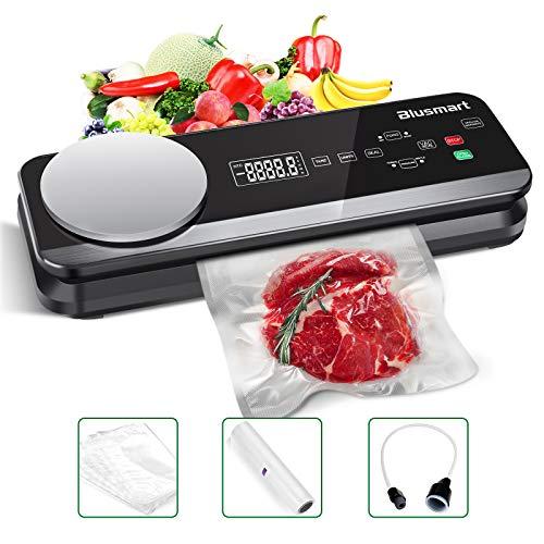 Vakuumierer Blusmart 0.8 Bar Vollautomatisches Vakuumiergerät für Trockene und Feuchte Lebensmittel, mit eingebauter Küchenwaage und LCD-Display, inkl Vakuumier-Folie und-Schläuche