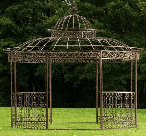 CLP Pavillon ROMANTIK aus pulverbeschichtetem Eisen I Runder Pavillon mit stilvollen Verzierungen l Bepflanzbarer Rankpavillon, Farbe:Bronze