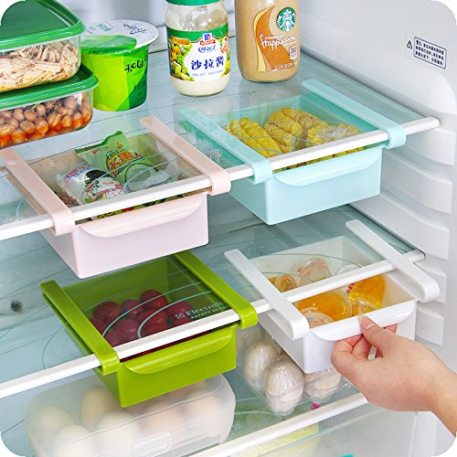 Klemm-Schublade Multifunktions-Organizer für Kühlschrank/Gefrierschrank, mit ausziehbaren Schubladen, Aufbewahrungsbox Kühlschrankbox für Gemüsefach Kühlfach blau