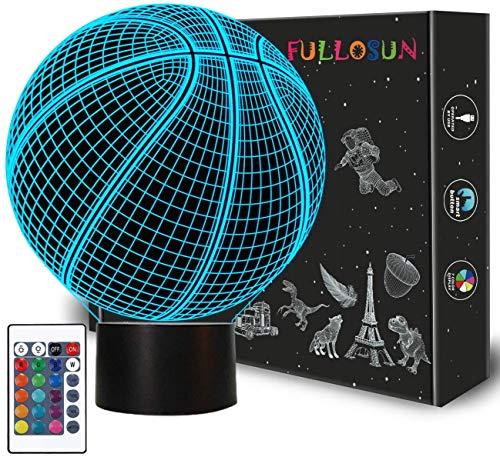Basketball 3D Nachtlicht Geburtstagsgeschenk Lampe, Leuchten Basketball Geschenke 3D Illusion Lampe mit Fernbedienung 16 Farben Ändern Sport Fan Raumdekoration Kinderzimmer Idee