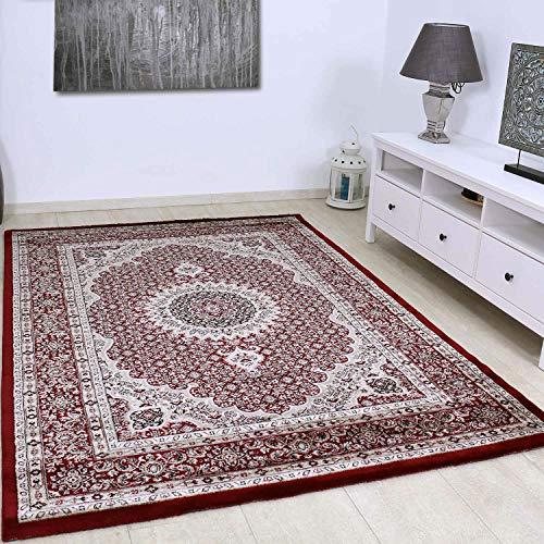 VIMODA Klassisch Orient Teppich dicht gewebt in Dunkel Rot, Maße:80 x 150 cm
