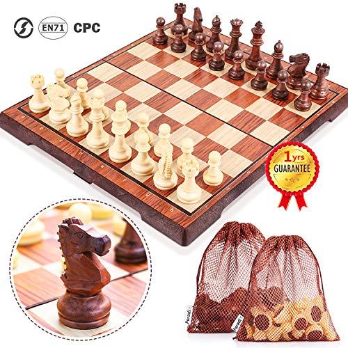 Peradix Schachspiel Magnetisch Dame Spiel 2 in 1 Einklappbar Schachbrett Schach mit Aufbewahrungsbeutel Schachbrett für Familie Geschenk Reisen
