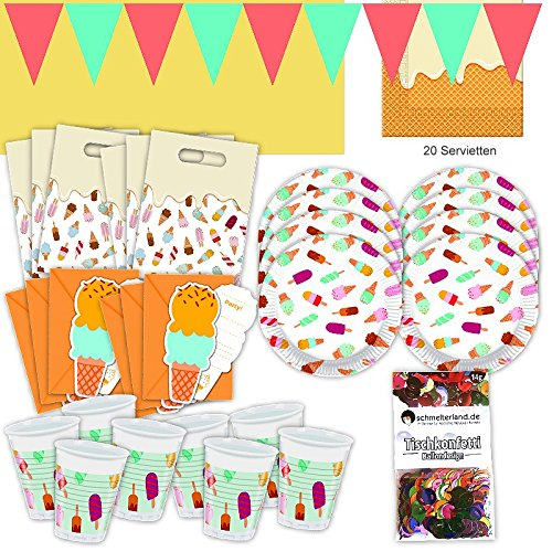 Procos EIS Gelati Sommer Party Set XL 57-teilig für 6 Gäste Eisparty Geburtstag Deko Partypaket