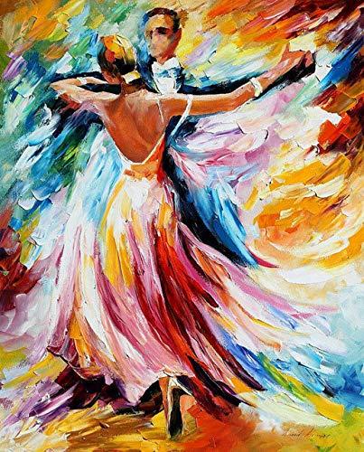 Superluckty Gerahmtes Gemälde nach Zahlen Malen nach Zahlen für Wohnkultur Wanddeko handgemaltes Leinwandbild Tanzen mit Frauen 40x50cm