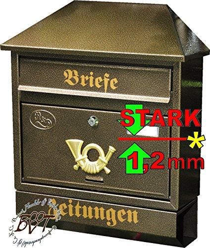 BTV Großer Briefkasten XXL, verzinkt mit Rostschutz Walmdach W/m edel Messing Gold goldfarben Zeitungsfach Zeitungsrolle Postkasten