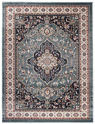 Carpeto Orientteppich Teppich Blau 60 x 100 cm Medaillon Muster Ayla Kollektion