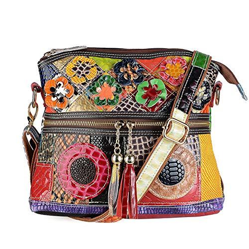 Segater® Damen Mehrfarbige Umhängetasche mit Blumenmuster, Mode Rindsleder Handtasche Schlangenmuster Design Leder-Umhängetasche Reisehandtasche Echtes Leder Bunte Geldbörse