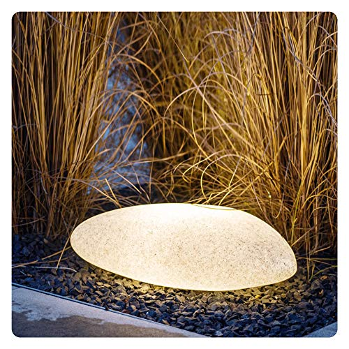 LED Stein Garten Außenleuchte in Granit-Optik inkl. 2x LED E27 Birne 4,5W warmweiß - Deko Steinleuchte IP65 Außen mit 3m Kabel