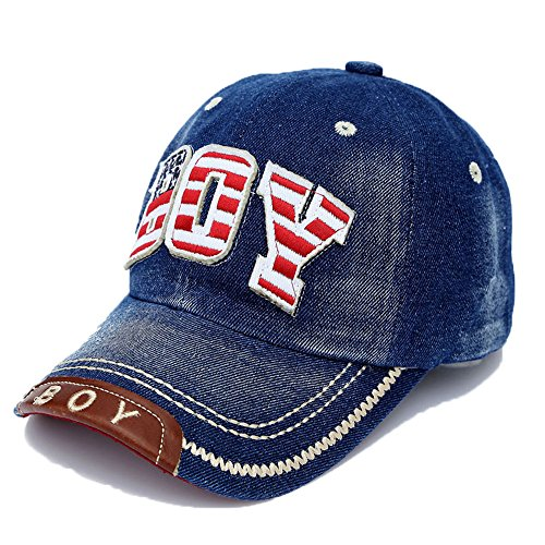 Baseballkappe Alphabet Stickerei Denim Hut Kappen für Jungen Mädchen, Dunkelblau