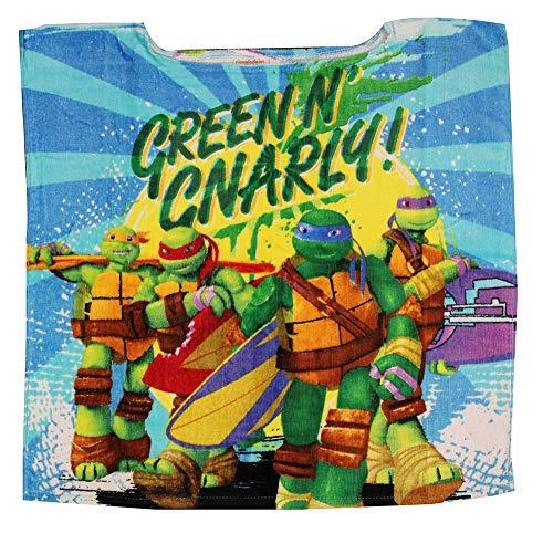 Teenage Mutant Ninja Turtles Donatello, Michelangelo, Raphael und Leonardo Kinder Badeponcho ohne Kapuze aus 100% Baumwolle, One Size