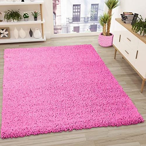 VIMODA Prime Shaggy Teppich Pink Hochflor Langflor Modern, Maße:70x140 cm
