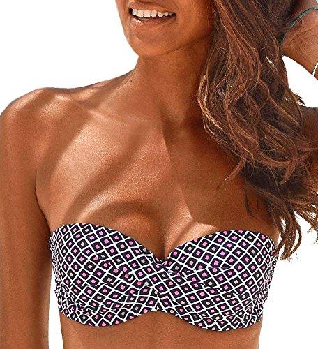 Lascana Bikini Oberteil Mix-Kini, Marine-Mehrfarbig, C36