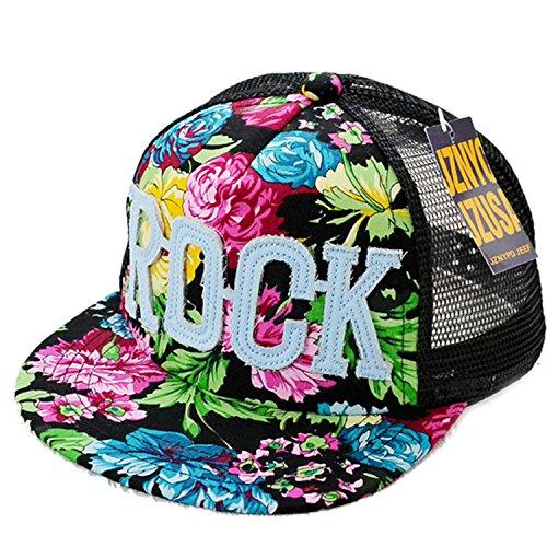 Belsen Mädchen Rock Blume Baseball Kappen Mesh Cap Truckers Hat (schwarz)