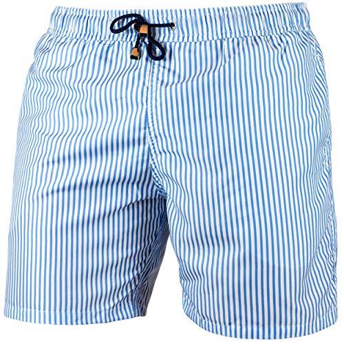 Occulto Herren Männer Badehose in vielen Farben   Badeshort   Bermuda   Beachshort   Slim Fit   Schwimmhose   Jungen (Navy/White, L)