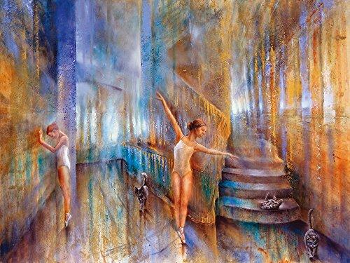 Artland Qualitätsbilder I Bild auf Leinwand Leinwandbilder Wandbilder 120 x 90 cm Sport Funsport Tanzen Malerei Ocker D5WM Katzen