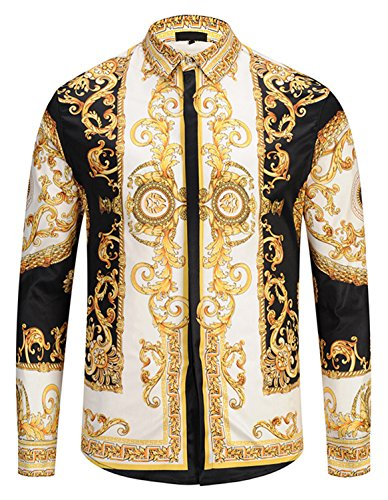PIZOFF Herren Langarm Golden Hemden mit Baroque-Motiven, Y1792-29, XXL