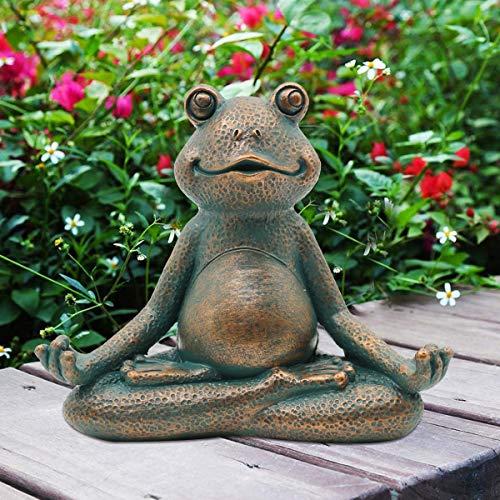 Goodeco Meditierender Frosch Ornament Miniatur Zen Yoga Frosch Gartenfigur Statue - Indoor/Outdoor Garten Skulptur für Feengarten, Haus, Terrasse, Deck, Veranda, Hof, Kunstdekoration, 13 cm (Kupfer)