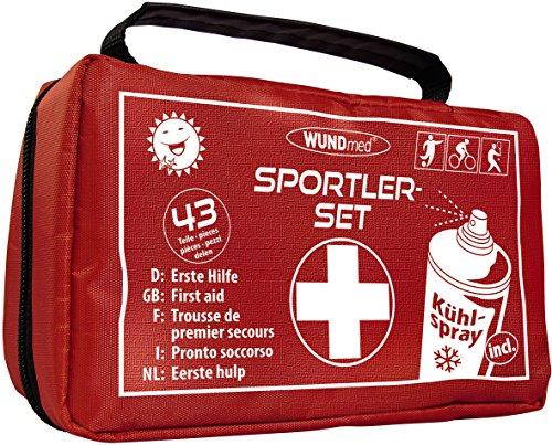 Sport Erste-Hilfe-Set | inklusive EISSPRAY | Versorgung bei Sportverletzungen | Fußball, Leichtathletik, Radfahren, Tennis, Kampfsport, Ski, Turnen