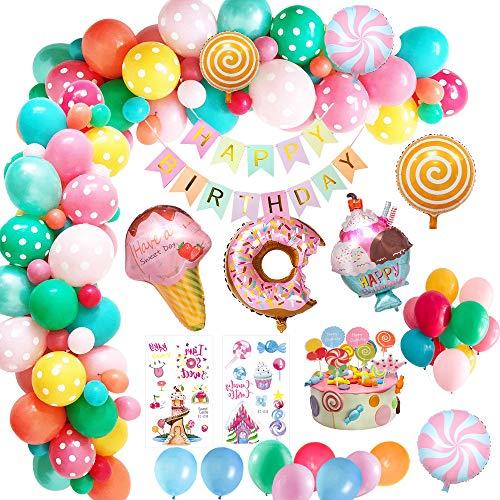 MMTX Geburtstagsdeko Mädchen, Kindergeburtstag Deko Geburtstag mit Happy Birthday Banner, Süßigkeiten Krapfen EIS Folienballon für Kinder Frauen Junge Candyland Party Dekorationen Mehrweg