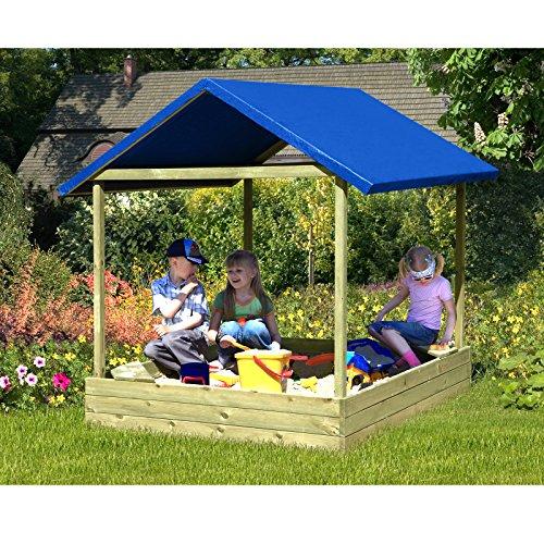 Gartenpirat Sandkasten Sophie 153x153 cm mit blauem Dach, TÜV-geprüft