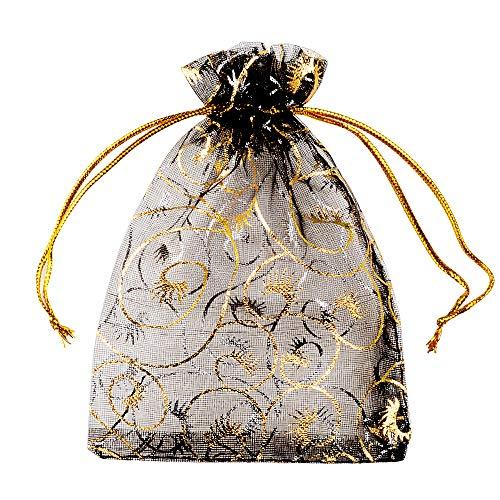 MEJOSER 100 Stück Organzasäckchen 9 x 12cm Organzabeutel Schmuck Geschenk Organza Säckchen Beutel Klein zum Befüllen für Hochzeit Fest Party Weihnachten Schmuckverpackung mit Kordelzug Schwarz