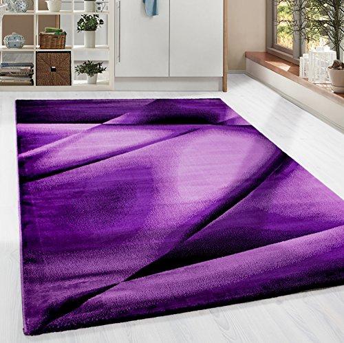 HomebyHome Kurzflor Guenstige Teppich modern geometrisch Lienien Schatten Muster Schwarz Lila Pink meliert 5 Groessen Wohnzimmer, Gästezimmer, Flur, Schlafzimmerm, Kueche, Läufer, Größe:160x230 cm